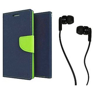 Micromax Canvas Colours A120  Mercury Wallet Flip case Cover (BLUE) With Champ Earphone(3.5mm jack)