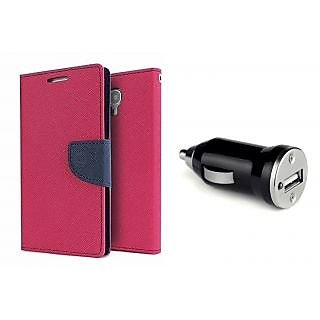 HTC One E8  Mercury Wallet Flip case Cover (PINK)  With CAR ADAPTER(Assorted Color)