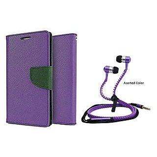 Reliance Lyf Wind 1  Mercury Wallet Flip case Cover (PURPLE) With Zipper Earphone