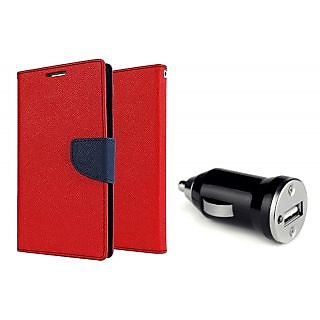 Micromax Canvas 2 A110  Mercury Wallet Flip case Cover (RED)  With CAR ADAPTER(Assorted Color)