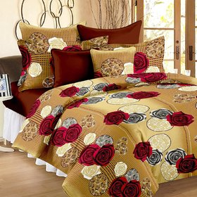 Roses Cotton Double Bedsheet with 2 Pillow Covers