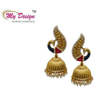 ccfbe0abaa88 My Design Beautiful Peacock Shaped Gold Plated Pearl Minakari Bridal Jhumki  Wedding Jhumka Set For Women And Girls