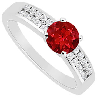 Natural Ruby & Diamond Channel Set Engagement Ring With 0.75 Carat TGW