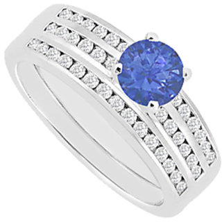 Sapphire Engagement Ring With Wedding Band Diamonds Channel Set 1.15 Carat
