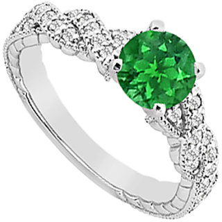 Diamonds & Natural Emerald Engagement Ring In 14K White Gold With 0.75 Carat TGW