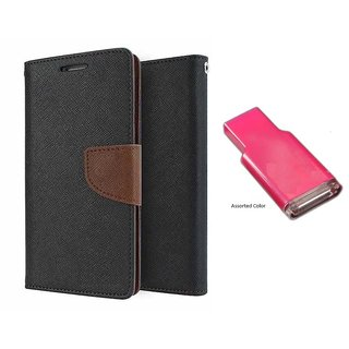 Lenovo A536 Mercury Wallet Flip case Cover (BROWN)  With MEMORY CARD READER(Assorted Color)