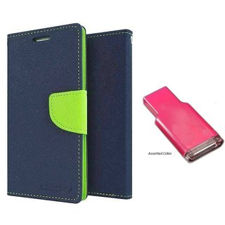HTC Desire 516  Mercury Wallet Flip case Cover (BLUE)  With MEMORY CARD READER(Assorted Color)