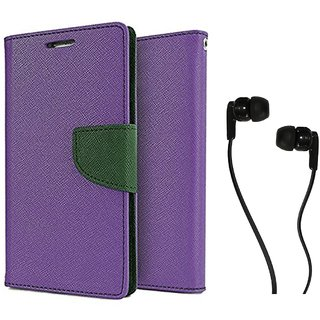 Sony Xperia M4 Aqua Dual  Mercury Wallet Flip case Cover (PURPLE) With Champ Earphone(3.5mm jack)
