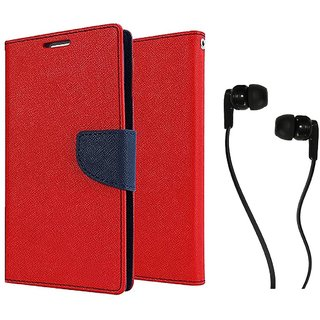 Asus Zenfone 5  Mercury Wallet Flip case Cover (RED) With Champ Earphone(3.5mm jack)