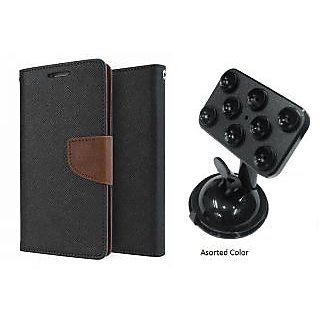 Lenovo S650 Mercury Wallet Flip case Cover (BROWN) With Universal Car Mount Holder(Assorted Color)
