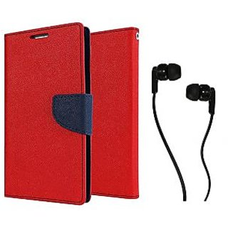 Sony Xperia M5 Dual  Mercury Wallet Flip case Cover (RED) With Champ Earphone(3.5mm jack)