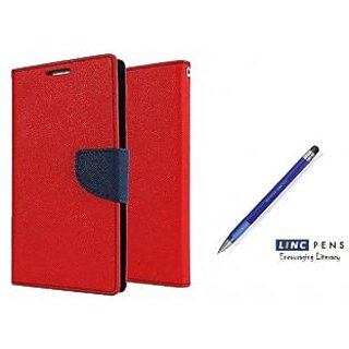 Samsung Galaxy J7 (2016)  Mercury Wallet Flip case Cover (RED)  With STYLUS PEN(Assorted Color)