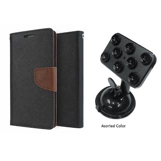 Reliance Lyf WIND-1 Mercury Wallet Flip case Cover (BROWN) With Universal Car Mount Holder(Assorted Color)