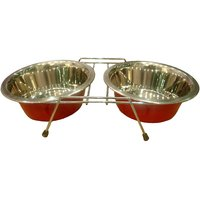 HMSTEELS PET DOG BOWL Wire DOUBLE DINNER IN RED COLOR WITH Stainless Steel PET BOWL 1.5LTR2 (21CM)