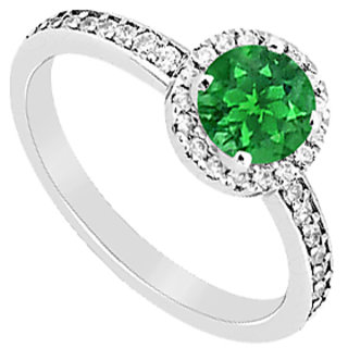 Natural Emerald & Diamond Halo Engagement Ring In 14K White Gold 1.05 Carat