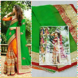 Green Color Designer Festival Bridal Ethnic Sarees