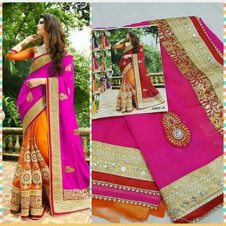 Exclusive Pink Color Designer Festival Sarees