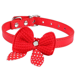 Futaba Knit Bowknot Adjustable Leather Pet Collars Necklace Red - 15 x 10 x 5 cm