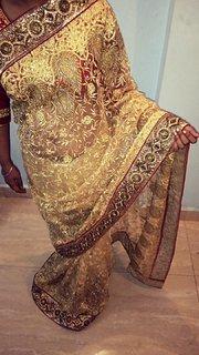 Heavy saree with handwork.