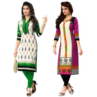 Jevi Prints - Combo of 2 Unstitched Khadi Cotton Flax Printed Kurti Fabrics