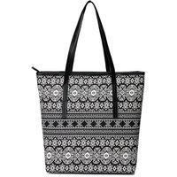 Cappuccino White,Black Printed Handbag