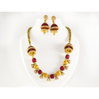 Go Glamour Designer Multicolor Silk Thread Necklace with Earrings for Women