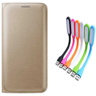 Snaptic Limited Edition Golden Leather Flip Cover for Reliance Jio LYF Flame 8 with USB LED Lamp