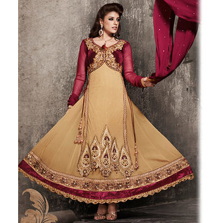 Beige And Magenta Anarkali Style Suit