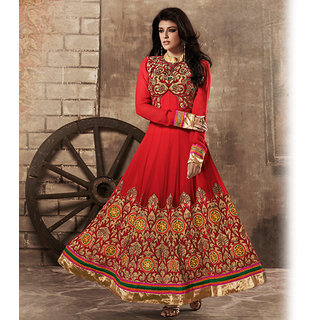 Red Anarkali Style Suit Design 2