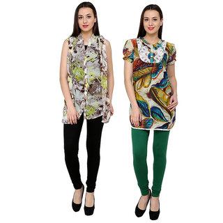 18toeightys Women's Multicolor Leggings(Pack of 2)