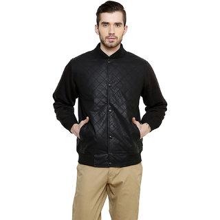 Freak'N Black Solid/Plain Jacket for Men