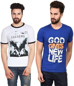 Stylogue Casual Printed T-shirts For Men (Combo of 2)