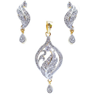 White American Diamond Pendant With Earring
