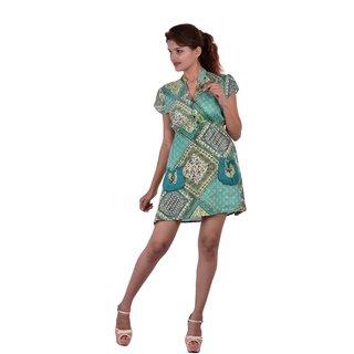 Uttam Green Printed A Line Dress
