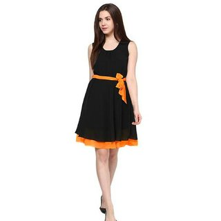 Uttam Orange Plain A Line Dress