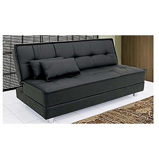 Space Interior Black Color Leatherette 3 Seater Sofa Cum Bed