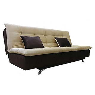 Space Interior Brown Beige Color Fabric 3 Seater Sofa Cum Bed