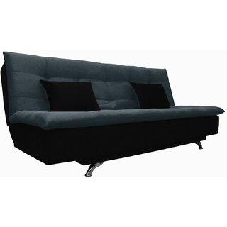 Space Interior Grey Black Color Fabric 3 Seater Sofa Cum Bed