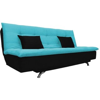 Space Interior Aqua Blue Black Color Velvet 3 Seater Sofa Cum Bed