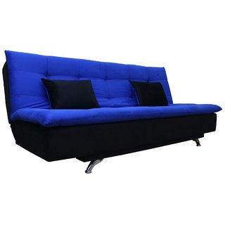 Space Interior Blue Black Color Velvet 3 Seater Sofa Cum Bed
