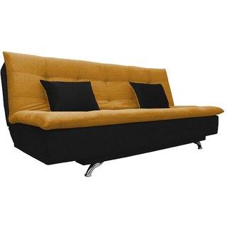 Space Interior Yellow Black Color Velvet 3 Seater Sofa Cum Bed