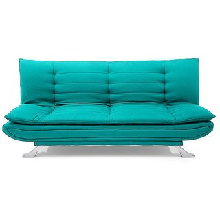 Space Interior Aqua Blue Color Fabric 3 Seater Sofa Cum Bed