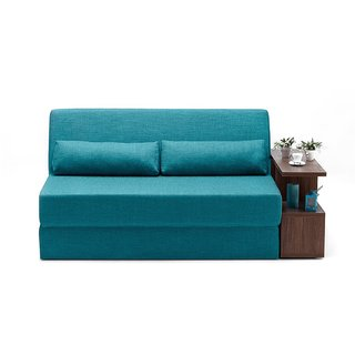 Space Interior Blue Color Fabric 3 Seater Sofa Cum Bed