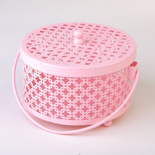 Deziworkz Powder Pink Jaali Storage Box/Organiser