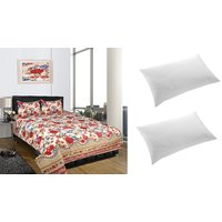 Combo - iLiv 3D Printed Double Bedsheet with 2 Pillow Cover  2 Fiberfill Pillow
