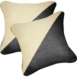 Pegasus Premium jute Car Pillow Cushion For Renault Kwid (Square, Pack of 2)