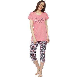 5de5ca983f Buy Vixenwrap Peach Pink   Multicolor Floral Print Top   Capri Set ...