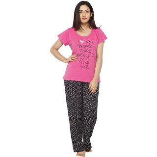 3dbc192b73404 Buy Vixenwrap Pink Black Printed Top Pyjama Set Online - Get 10% Off