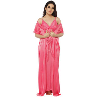 Buy Vixenwrap Punch Pink Solid Nighty with Robe Online - Get 10% Off a917e2636