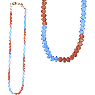Be You Brilliant Rhodium Plated Brass Blue  Purple Color Beads Mala for Women